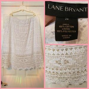 Lane Bryant white crochet skirt